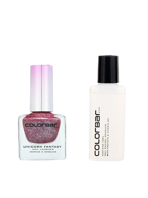 Colorbar Pack of 2 Acetone Free Nail Enamel Remover & Pink Horse 4 Nail Lacquer