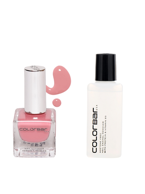 Colorbar Pack of 2 Acetone Free Nail Enamel Remover & Rose Quartz 92 Nail Lacquer