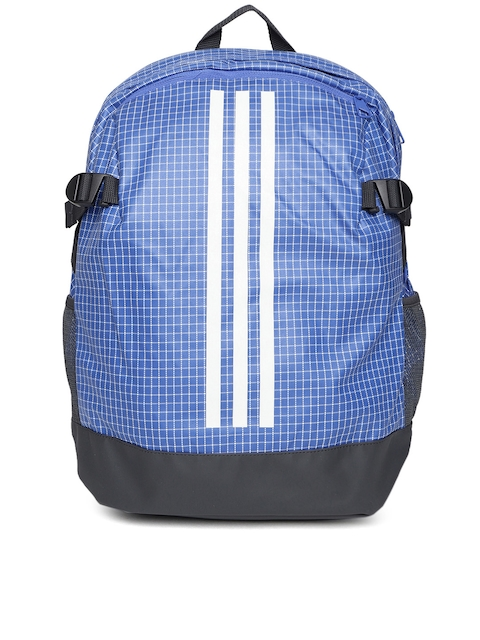 Adidas Unisex Blue & Black POWER BP Geometric Print Backpack