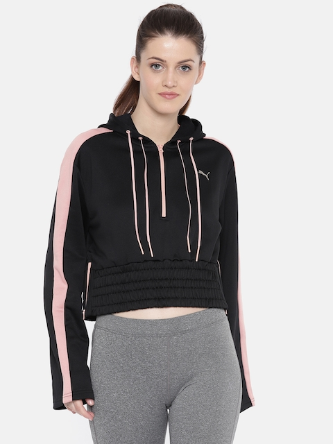 Puma Women Black Solid Pointe Savannah Cropped Sweatshirt