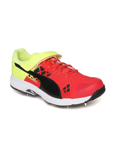Puma Men Red & Fluorescent Green evoSPEED 18.1 Fade Cricket Bowling Shoes