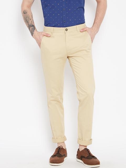 Monte Carlo Men Cream-Coloured Smart Fit Solid Trousers