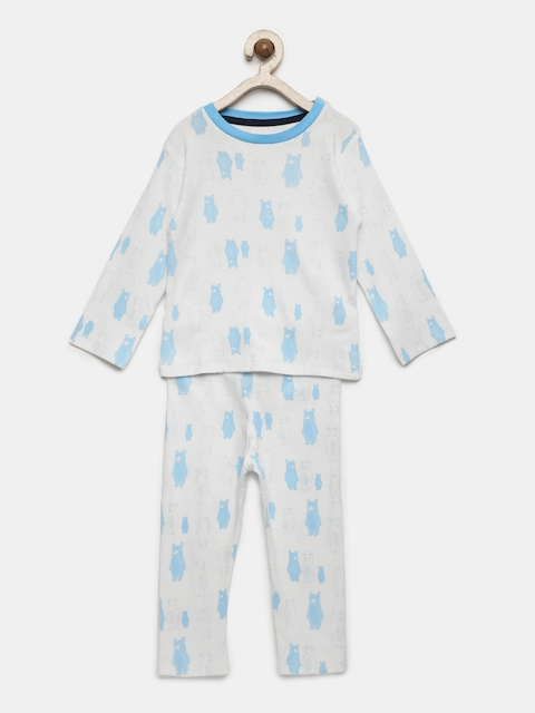 Babysafe Boys White & Blue Printed Night suit