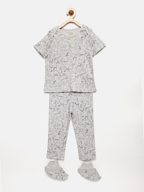 Babysafe Boys Grey Melange Printed Night Suit With Booties