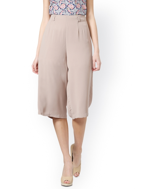 Allen Solly Woman Women Beige Regular Fit Solid Culottes