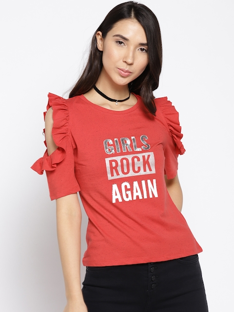 Madame Women Red Printed Top