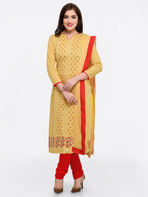 Rajnandini Yellow & Red Pure Cotton Unstitched Dress Material