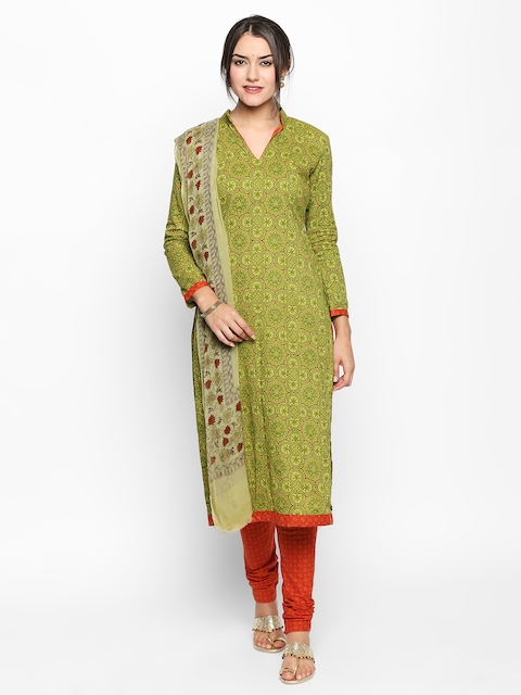 Jevi Prints Green & Rust Orange Pure Cotton Unstitched Dress Material