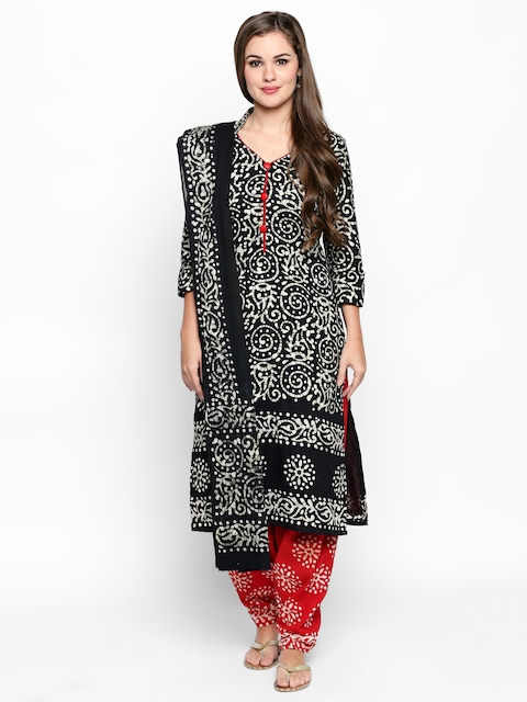 Jevi Prints Black & Red Pure Cotton Unstitched Dress Material