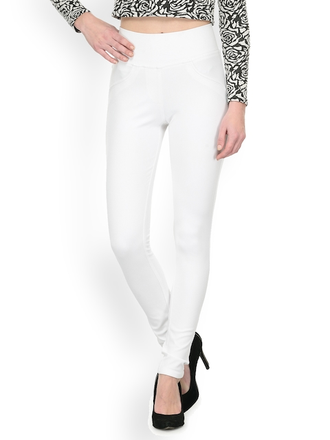 Westwood White Solid Skinny Fit Treggings