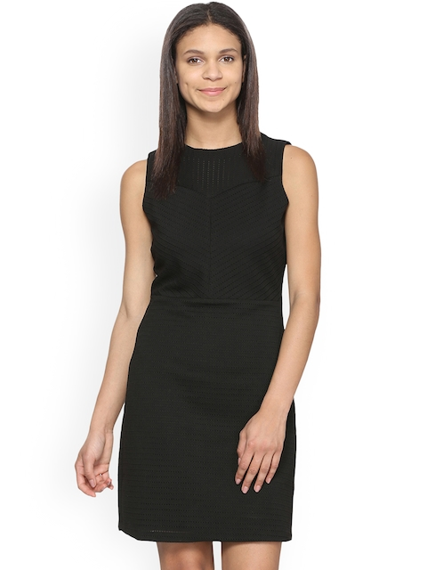 Van Heusen Woman Black Self Design Sheath Dress
