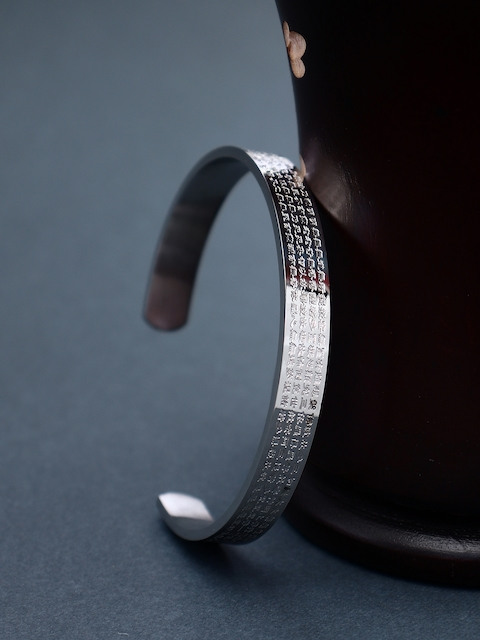 Peora Silver-Toned Stainless Steel Silver-Plated Cuff Bracelet