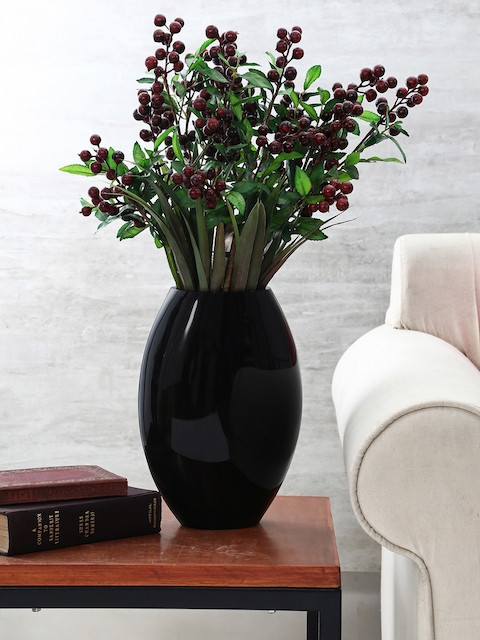 Pure Home and Living Black Elite Oval Vase