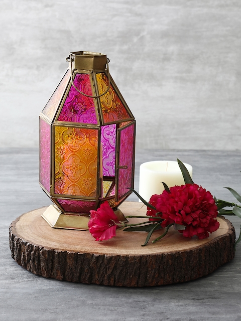Pure Home and Living Pink and Orange Textured Glass Lantern