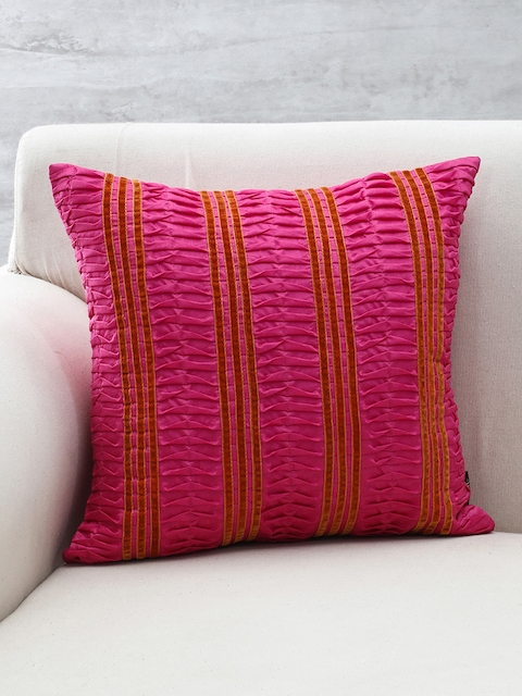 Pure Home and Living Pink Pleated Square Cushion