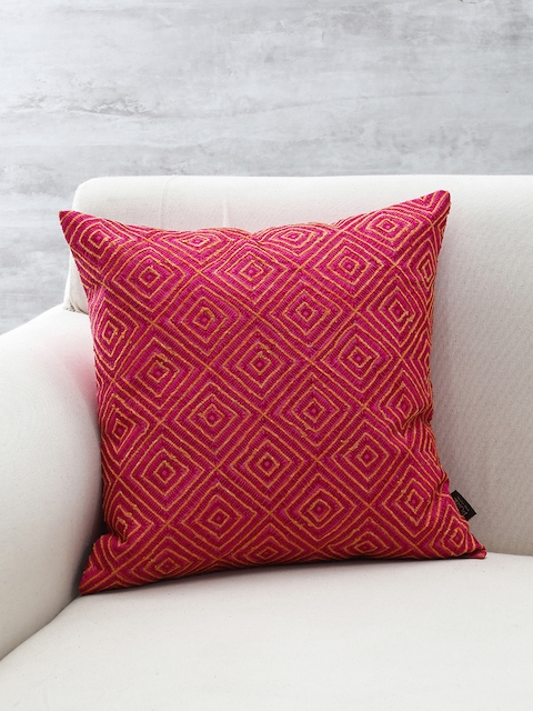 Pure Home and Living Magenta Embroidered Square Cushion