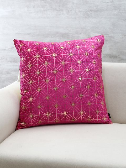 Pure Home and Living Magenta Mirror Worked Square Cushion