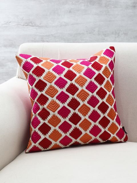 Pure Home and Living Multicoloured Embroidered Square Cushion