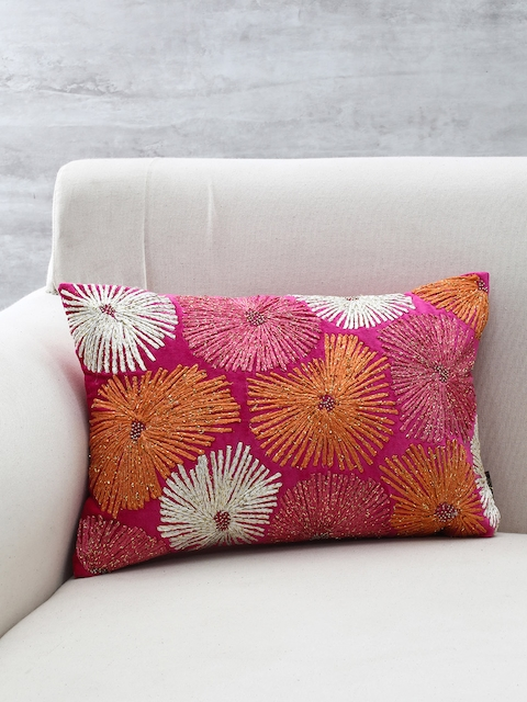 Pure Home and Living Pink, White & Orange Embroidered Square Cushion