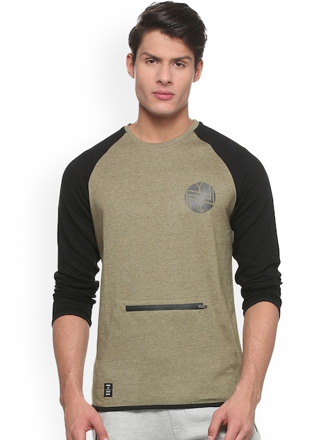 People Men Olive Green Solid Sweatshirt
