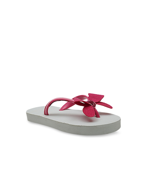 DChica Girls White & Pink Embellished Thong Flip-Flops