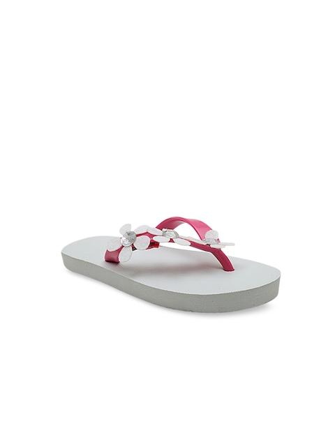 DChica Girls Pink & White Embellished Thong Flip-Flops