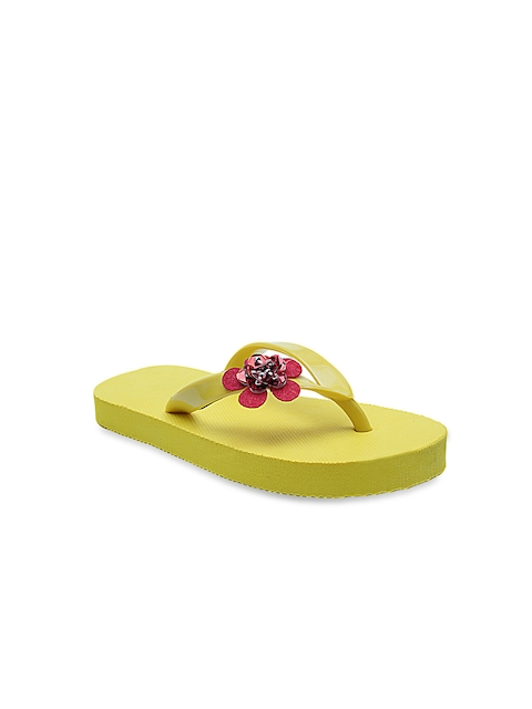 DChica Girls Yellow & Red Solid Thong Flip-Flops
