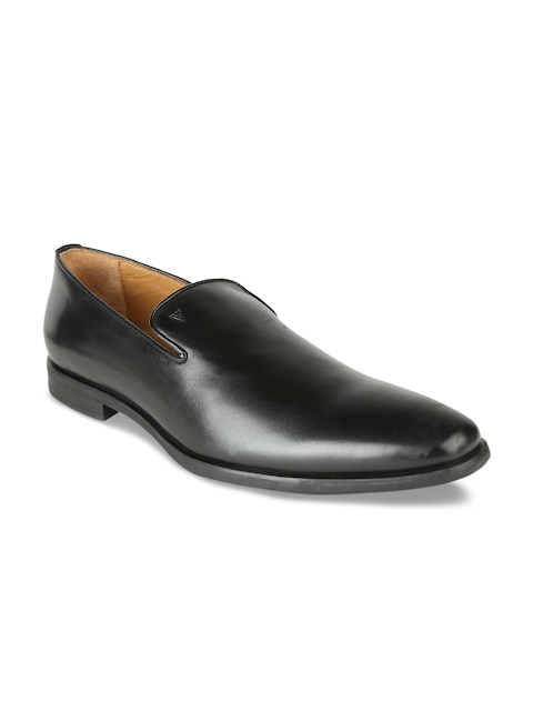 Van Heusen Men Black Leather Slip-On Shoes