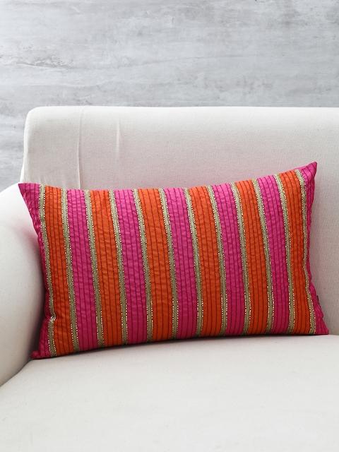 Pure Home and Living Pink, Gold & Orange Embellished Rectangular Cushion