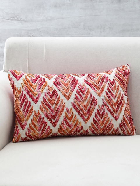 Pure Home and Living Multicoloured Embroidered Rectangular Cushion