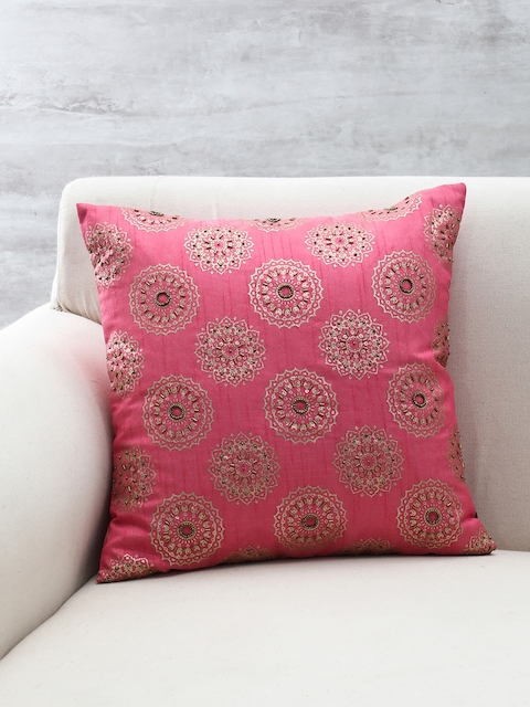 Pure Home and Living Pink Embellished Square Cushion
