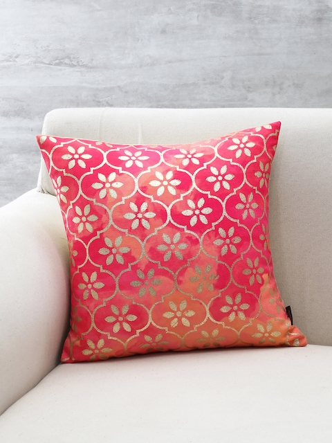 Pure Home and Living Pink Floral Print Square Cushion