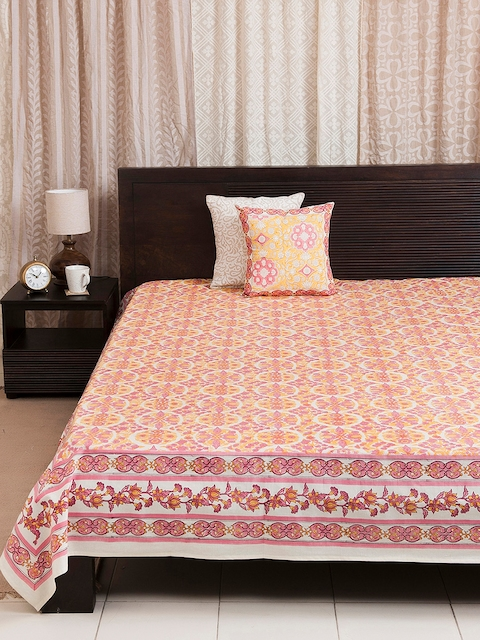 Fabindia Pink Printed Double-King Size Bed Cover