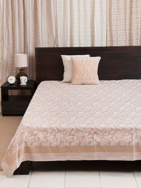Fabindia Beige & White Woven Design Double-Queen Size Bed Cover