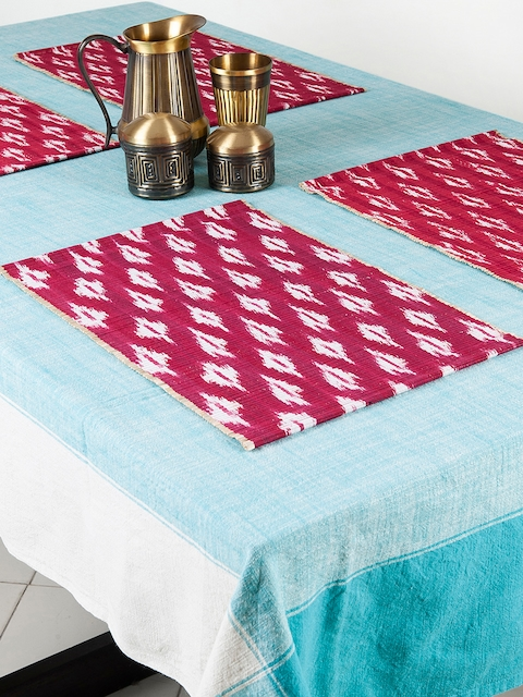 Fabindia Set of 6 Red & White Table Mats