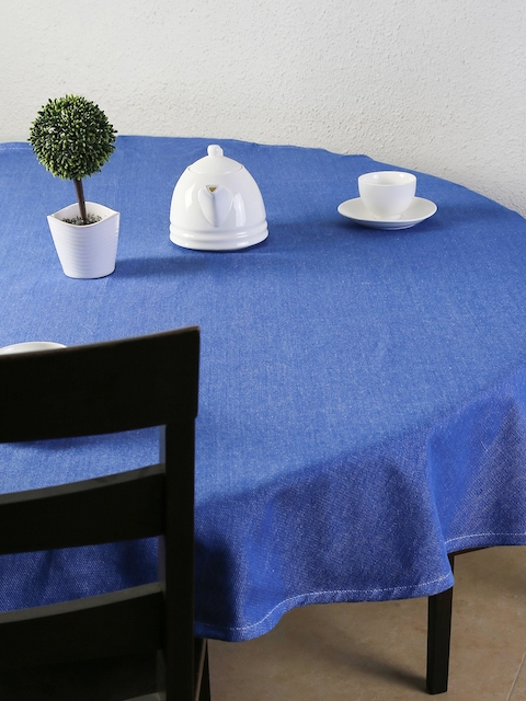 House This Blue Round Cotton Table Cloth