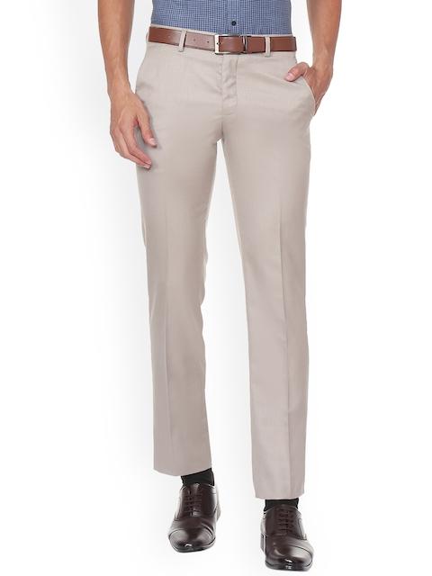 V Dot Men Beige Slim Fit Self Design Formal Trousers