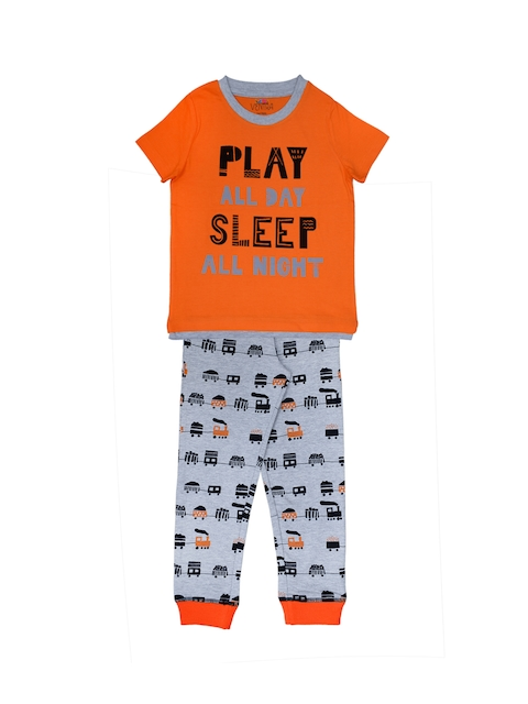 ventra Boys Orange & Grey Printed Night Suit VNT-5001329-23