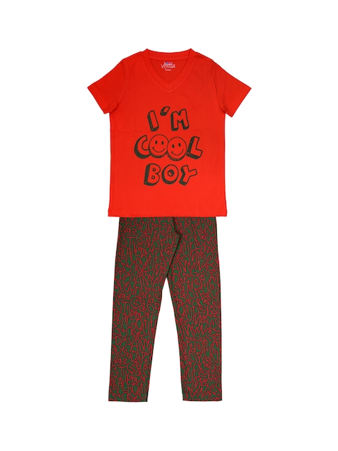 ventra Boys Red & Green Printed Night Suit VNT-5001332-67