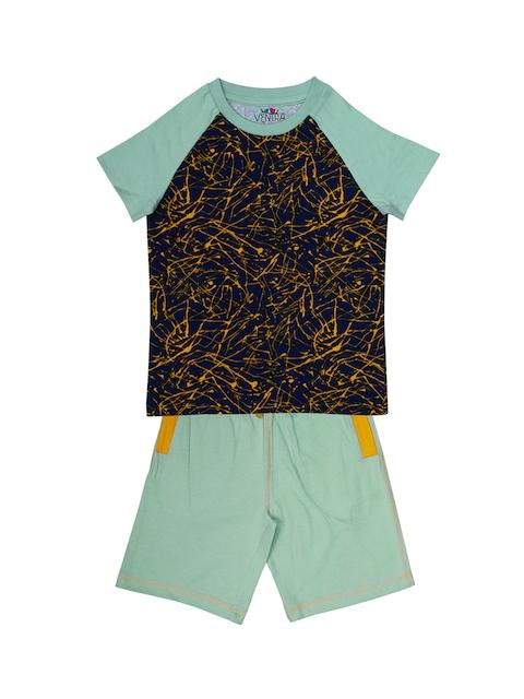 ventra Boys Navy Blue & Green Printed Night Suit VNT-5001330-12