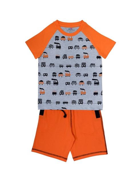 ventra Boys Grey & Orange Printed Night Suit VNT-5001330-12