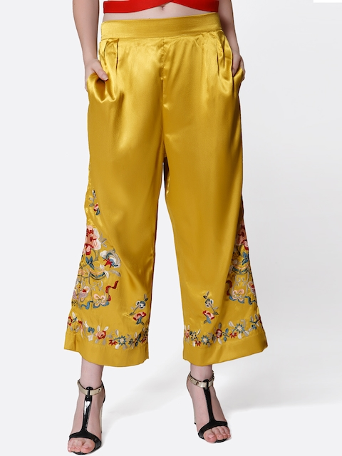 aaliya Women Mustard Yellow Embroidered Cropped Parallel Trousers
