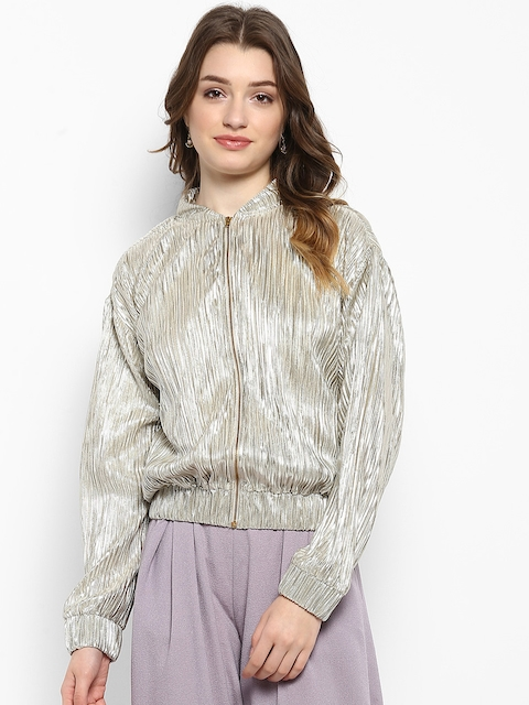 Kazo Women Silver-Toned Semi-Sheer Solid Open Front Jacket