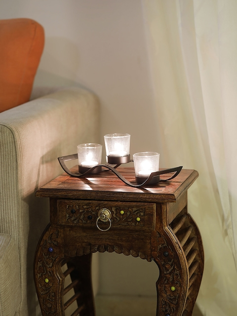 Samsaara Black Iron Wave Votive Candle Holder with Three Clear Glass Cups