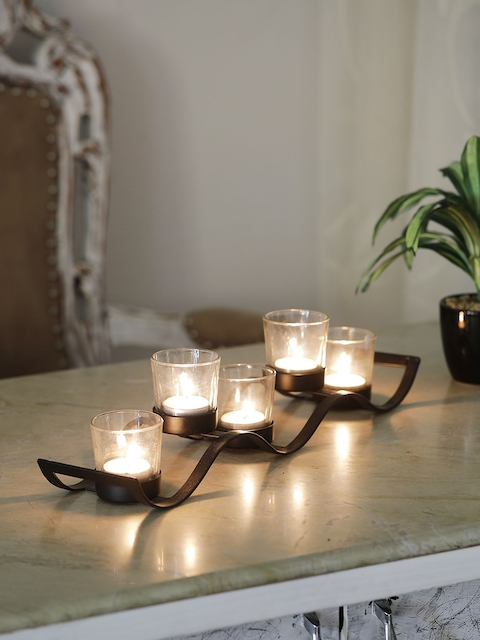 Samsaara Black Iron Wave Votive Candle Holder with Five Clear Glass Cups