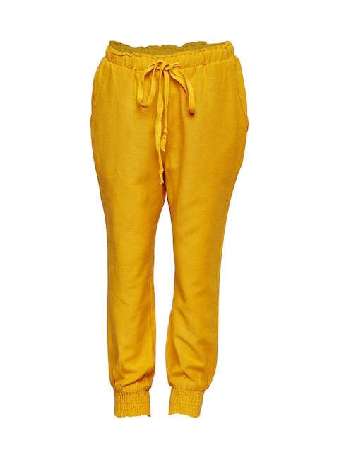 Oxolloxo Girls Yellow Relaxed Regular Fit Solid Regular Trousers