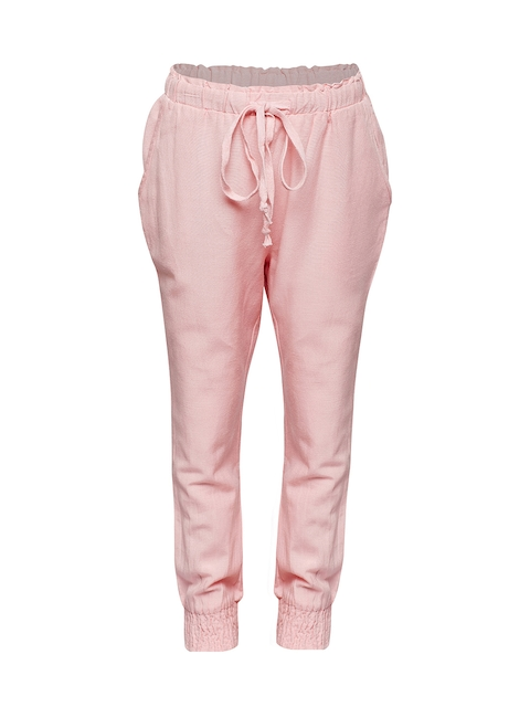Oxolloxo Girls Pink Relaxed Regular Fit Solid Regular Trousers