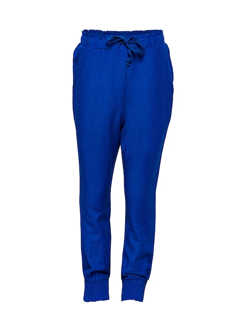 Oxolloxo Girls Blue Relaxed Regular Fit Solid Regular Trousers