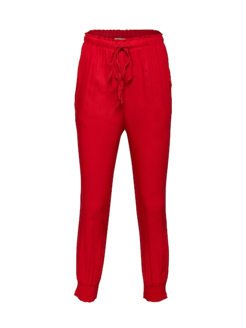 Oxolloxo Girls Red Relaxed Regular Fit Solid Regular Trousers