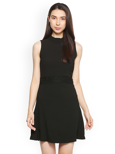 Allen Solly Woman Women Black Solid A-Line Dress